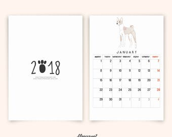 Dog Illustration Calendar 2018, Printable Calendar 2018 with Various Dog Breeds, Monthly Calendar Planner 2018 PDF, Wall Art Calendar