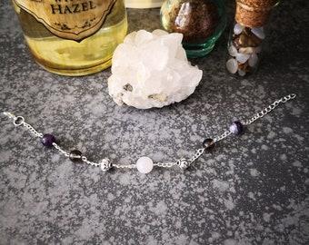 Bracelet mix gemstone, Crystal, mourning, quartz, silver