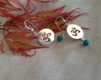 Sweet Hindu Om on Sterling Silver with Turquoise Bead