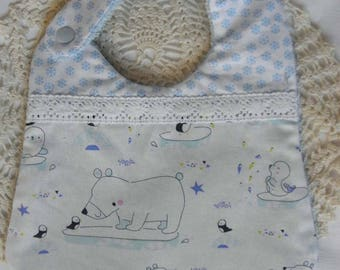 """Cotton fabric bib """"ice"""" with polar bears, penguins, snowflakes and sponge for babies from birth to 12 months"""