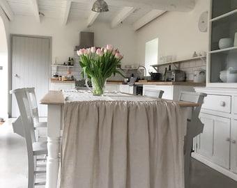 Linen TABLECLOTH, Ruffled Linen, Shabby Chic Runner, HYBRID design! Farmhouse Decor, Shabby Chic