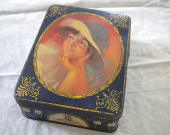 Vintage 1900s French Tin box Lady