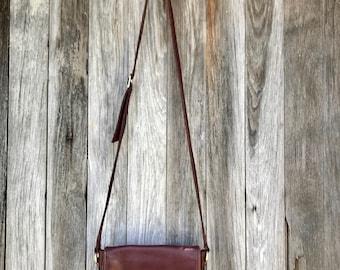 Vintage Etienne Aigner Distressed Leather Vintage Satchel Crossbody Bag Oxblood