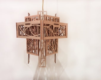 Modern Eco-Friendly recycled Cardboard square chandelier