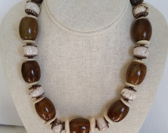 CHUNKY STONE NECKLACE with Brown and White Howlite, Magnesite Barrel Beads, Copper, Bone. Short Bold Statement Necklace. Mothers Day Gift.