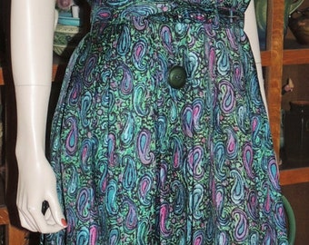 1950s Paisley Fitted Waist Dress Size M