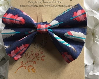 Boho Feather Fabric Bow