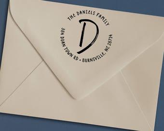 Custom Monogram Address Stamp, Stylized Script Daniels Return Address Stamp