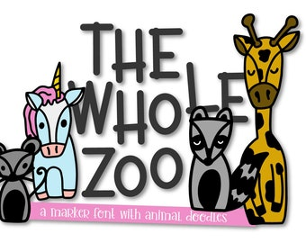 The Whole Zoo, Marker, Font, Animal, Dingbat, Ornament, Symbol, Commercial, Cricut, Silhouette, Unicorn, Raccoon, Fox, Typeface, Graphics