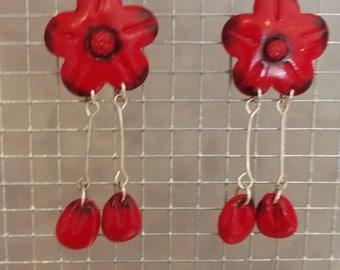 Pair of red flower earrings