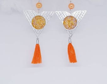 Colorful orange and Silver earrings