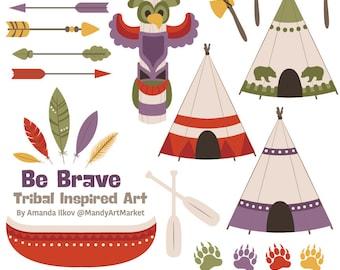 Professional Tribal Clipart & Vectors - Tribal Clip Art, Tipi Clipart, Tipi Clip Art, Tribal Vectors, Feather Clipart, Totem Pole, Canoe