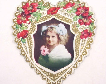 Vintage Fancy Antique Victorian Valentine Greeting Card with Photo of Little Girl Flowers Gold Gilded