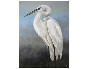 Egret painting - blue ocean shore bird painting - white egret wall art - beach house nautical decor - shorebird - original canvas painting
