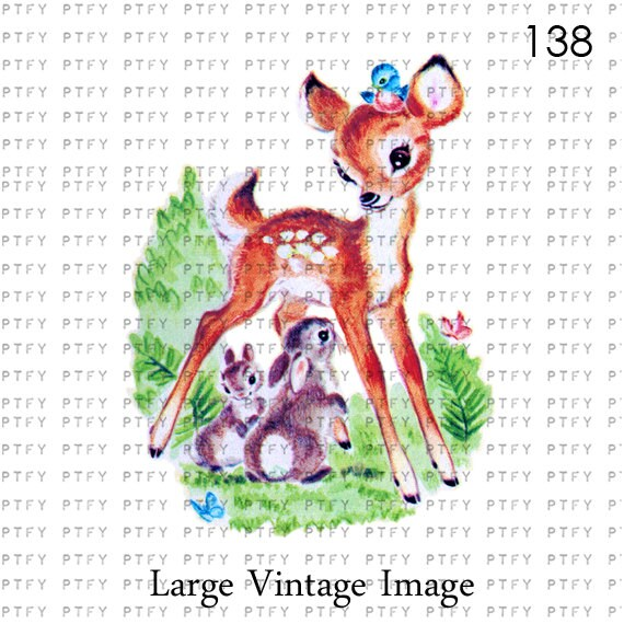 Vintage Deer Bluebirds And Cute Animals Two LARGE Digital