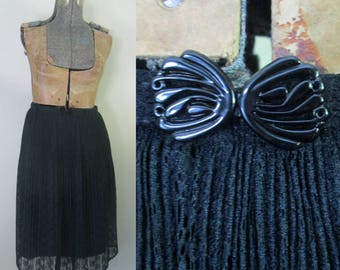 Black Lace Pleated Skirt Elastic Waist Matching Belt Free Size