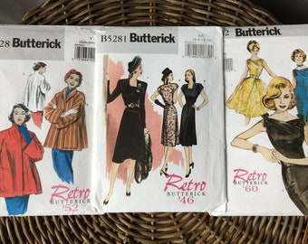 Retro Butterick Vintage Repro Sewing Pattern Lot / B4928 Jacket / B5281 Dress / B6582 Dress/ XS 6-8-10-12