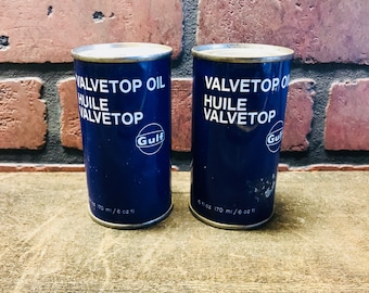 2 Full Cans- Vintage Gulf Valvetop Oil -petroliana -automobilia