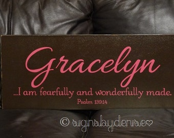 "Child Name Sign, Scripture Sign, I am fearfully and wonderfully made. Psalm 139:14, Baby Sign - 24"" x 10"" SignsbyDenise"