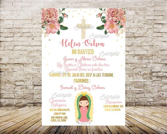 virgen de guadalupe invitation mi bautizo invitaciones