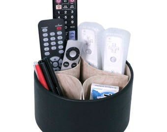 Spinning Remote organizer for the living room coffee table - Storage for tv remotes, pens, notes, magazines, and phones