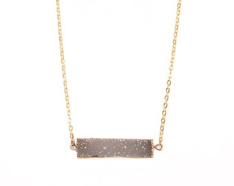 Smoky Grey Druzy Rectangle Bar Necklace-Gold Filled Chain in Your Length of Choice-Dainty - Druzy Agate Rectangle Bar Necklace Gold-Druzy