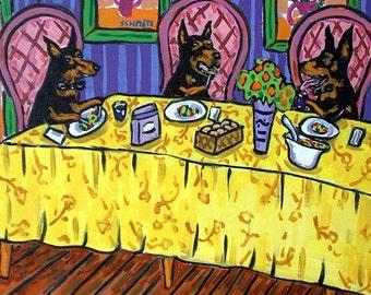 Doberman Pinscher Dinner Party Dog Art Tile Coaster Gift