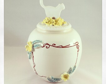 English Porcelain Customizable Cat Urn