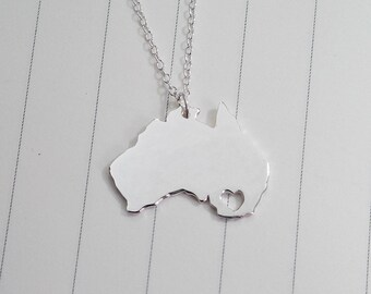 Australia Map Necklace,Australia Charm Necklace,Australia City Necklace,State Shaped Necklace  With A Heart