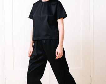 Damen Frauen oben Damen T-shirt schwarz t Shirt Jersey oben Damen Bluse schwarzen t-Shirt schwarze Bluse schwarz Stretch Tunika