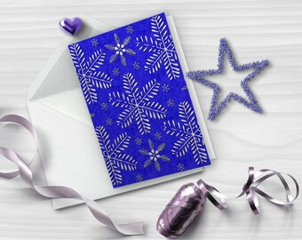 Blue and silver Christmas card, Snowflakes greeting card, Printable greeting card, Vertical folded card, Instant download, GC024-10