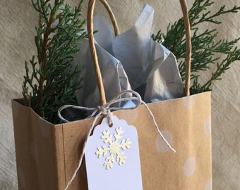 Silver Foil Snowflake Gift Tags