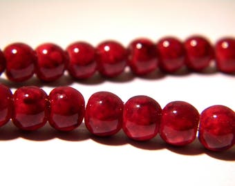 65 mottled glass - beads 6 mm - red - glass - glass beads - reality G132