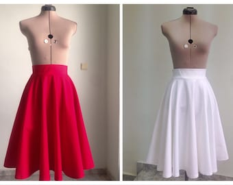Midi Skirt / Womens Skirts  / Circle Skirt / High Waisted Skirt / Midi Skirt Women / Skirt / Vintage Style Skirt / Cotton Skirt
