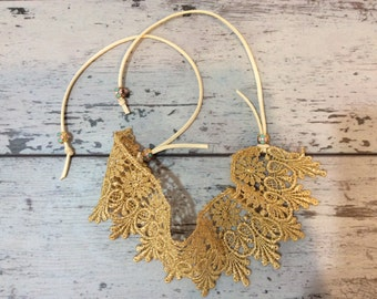 Gold lace boho choker necklace 2 inch wide Indonesian hippie eclectic jewelry