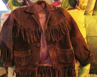 Child's vintage fringed leather jacket