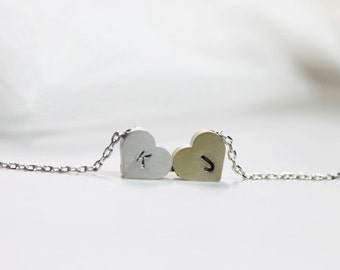 Personalized initial Two Hearts Necklace - S2301 -1