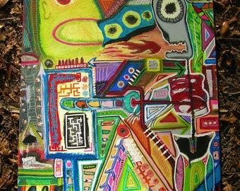 "Robot One, Skeleton Zero 24""x18""1"" ORIGINAL PAINTING on canvas ready to hang"