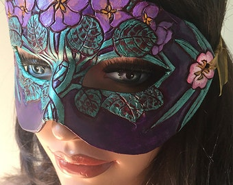 February Birthflower Violets and Primrose Leather Mask - Limited Edition of 10 Floral Birthstone Art Nouveau Mardi Gras Masquerade