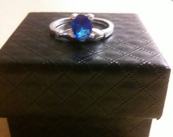 Sapphire Solitaire Ring - Silver Band
