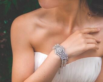 Vintage Pearl Bridal Bracelet, 3 Strand Ivory Pearl Bracelet, Swarovski Pearl Zirconia, Bridesmaid Bracelet, Jewelry, Wedding Accessory