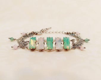Pacific and Rose Water Opal Bracelet, Pacific Opal Bracelet, Rose Water Opal Bracelet