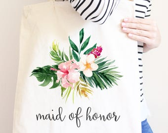 Bridesmaid Canvas Tote Bag, Maid Of Honor Gift