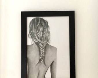 nude woman drawing woman nude pencil drawing naked woman undressed realistic woman drawing human drawing home decor original drawing