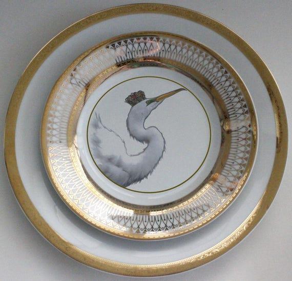 & Beautiful Gold Egret Bird Dinnerware / Plates Various Sizes
