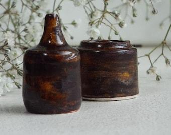 Miniature Rustic Vessels Duo