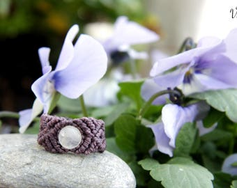 Macrame ring with Moonstone/rocking ring with moonstone/Bohemian jewelry/Boho