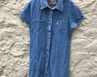 Vintage short sleeve denim shirt dress UK 16 US 12
