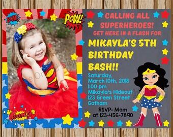 "Wonder Woman Birthday Invitation- Superhero ADD A PICTURE Invitation- Wonder Woman Birthday Party- 5""x7"" size- Digital- Print at home"
