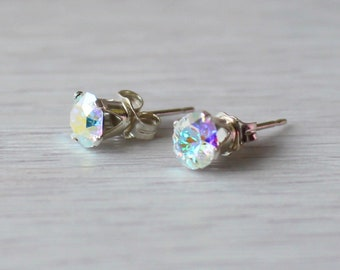 Silver and Sparkle Crystal Stud Earrings, 925 Sterling Silver Earrings, Handmade Earrings, Crystal Gemstone Earrings